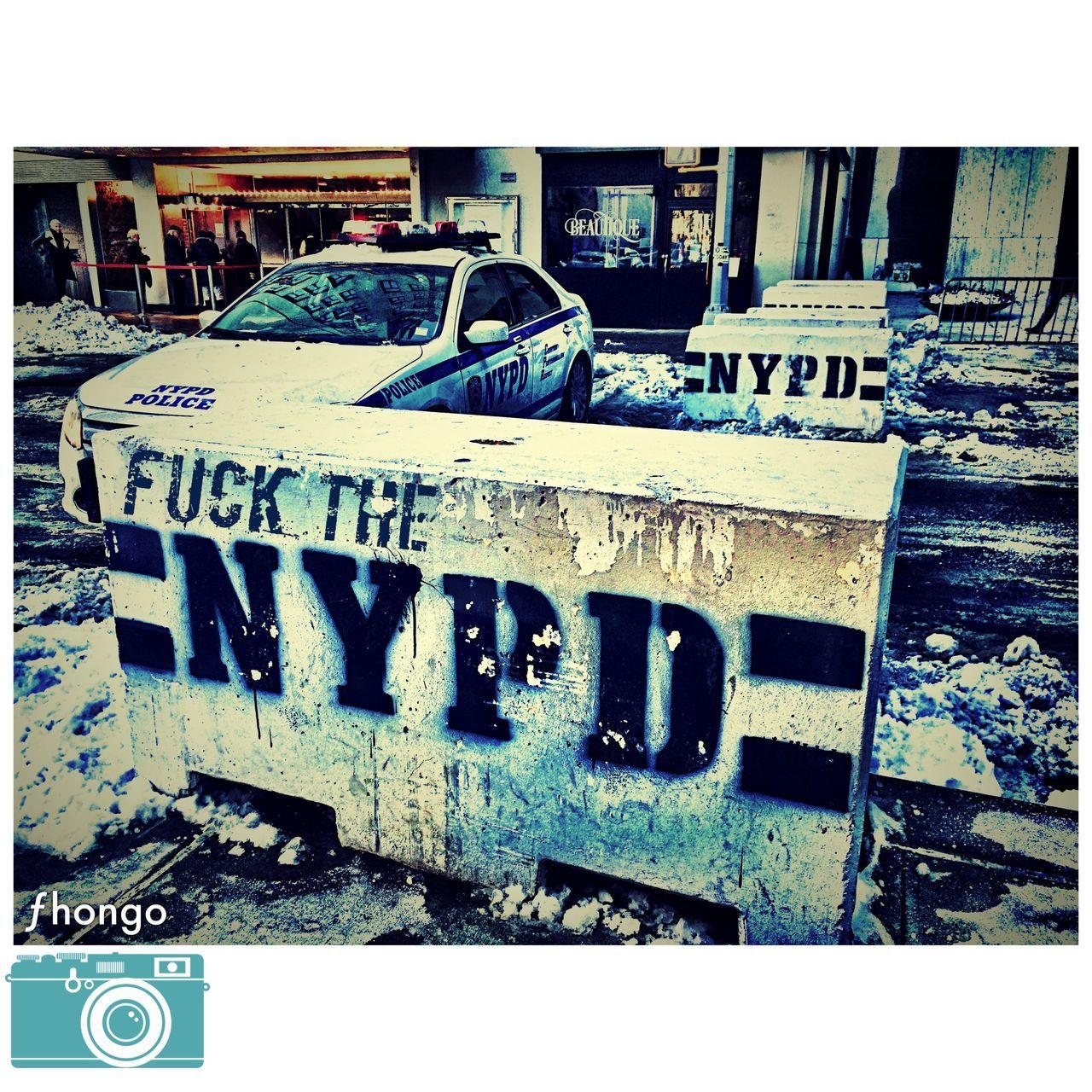 FUCK YOU NYPD Police NYC Photography Streetphotography Newyorkcity New York Newyork Blizzard CentralPark