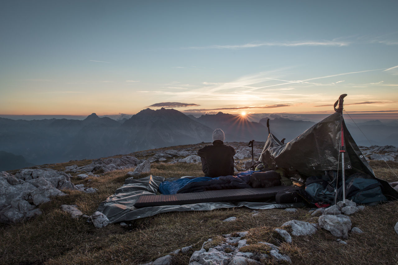 Bivouac Blue Early Enjoyment Hiking Hohes Brett Landscape Man Morning Rest Sky Sun Sundown Sunset Watzmann Camp Finding New Frontiers Miles Away