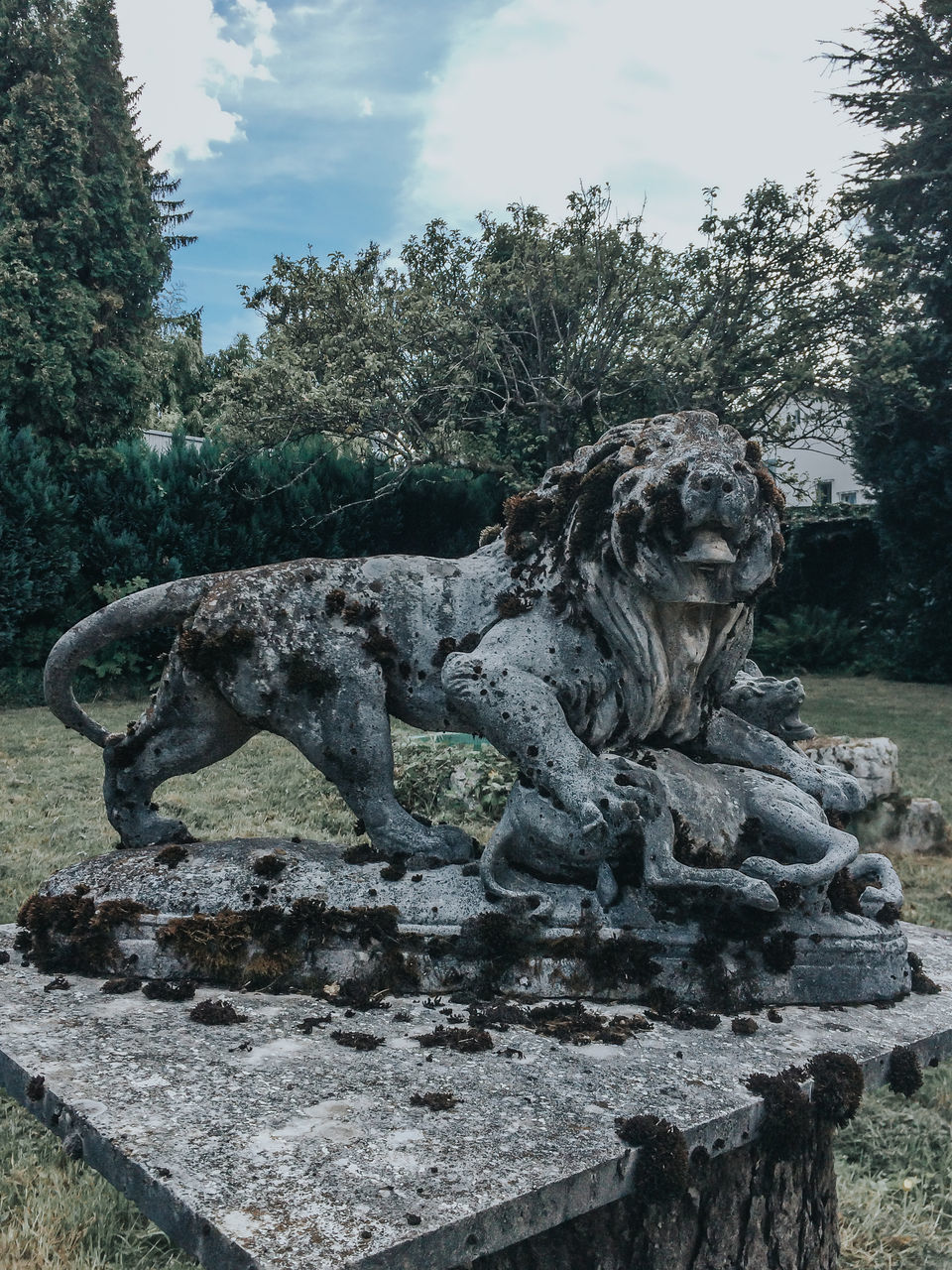 sculpture, statue, art and craft, outdoors, day, no people, tree, sky, nature, gargoyle, water, animal themes, close-up