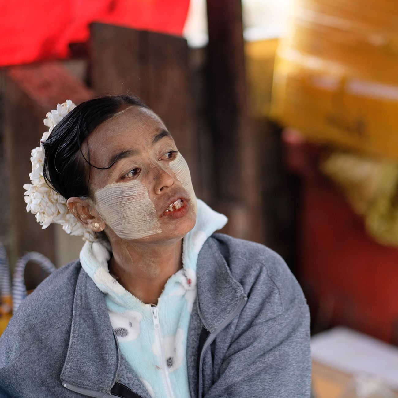 Portrait Woman Face Paint Face Makeup Tradition Cultures Thanaka Travel One Person Focus On Foreground Indoors  Market Market Stall People Day Adult Portraits Portrait Of A Woman EyeEm Best Shots EyeEm Gallery Check This Out Popular Photos in Nyaungshwe , Myanmar