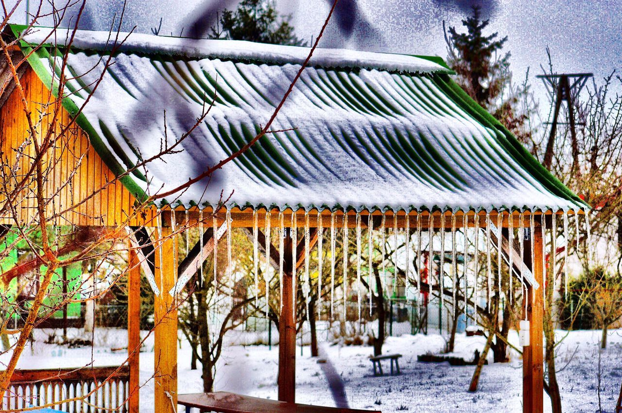 Winter Snow Icicles Cold Temperature Built Structure Outdoors Ice Age Nature Szczecin Poland