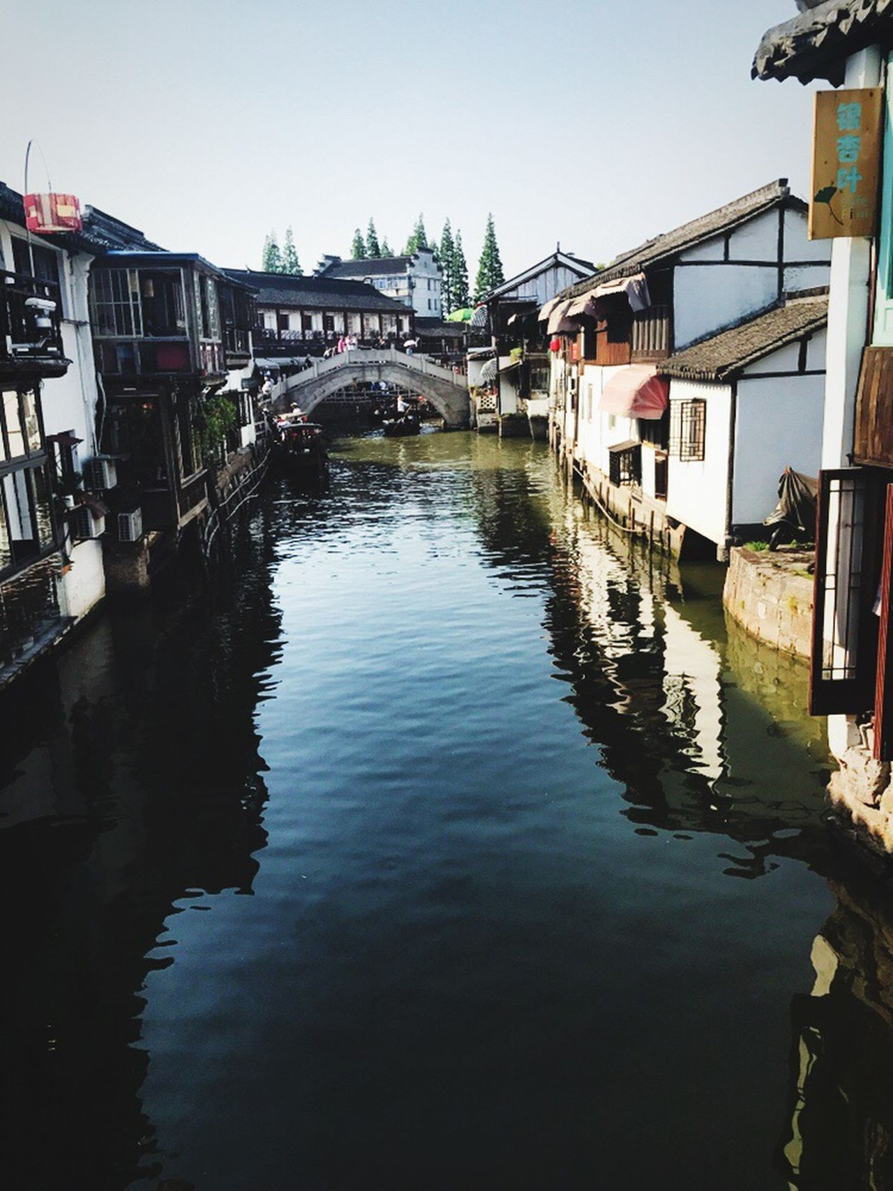 Building Exterior Architecture Built Structure Reflection Water House Day Waterfront Residential Building Canal Outdoors Old Town Rippled Clear Sky No People Nautical Vessel Nature Sky City Zhujiang River