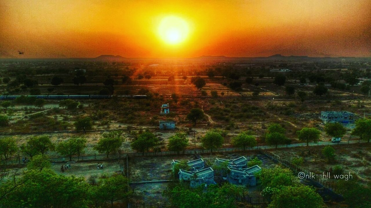 Sunset h High Angle View Beauty In Nature No People Landscape Illuminated Sky City Day Outdoors