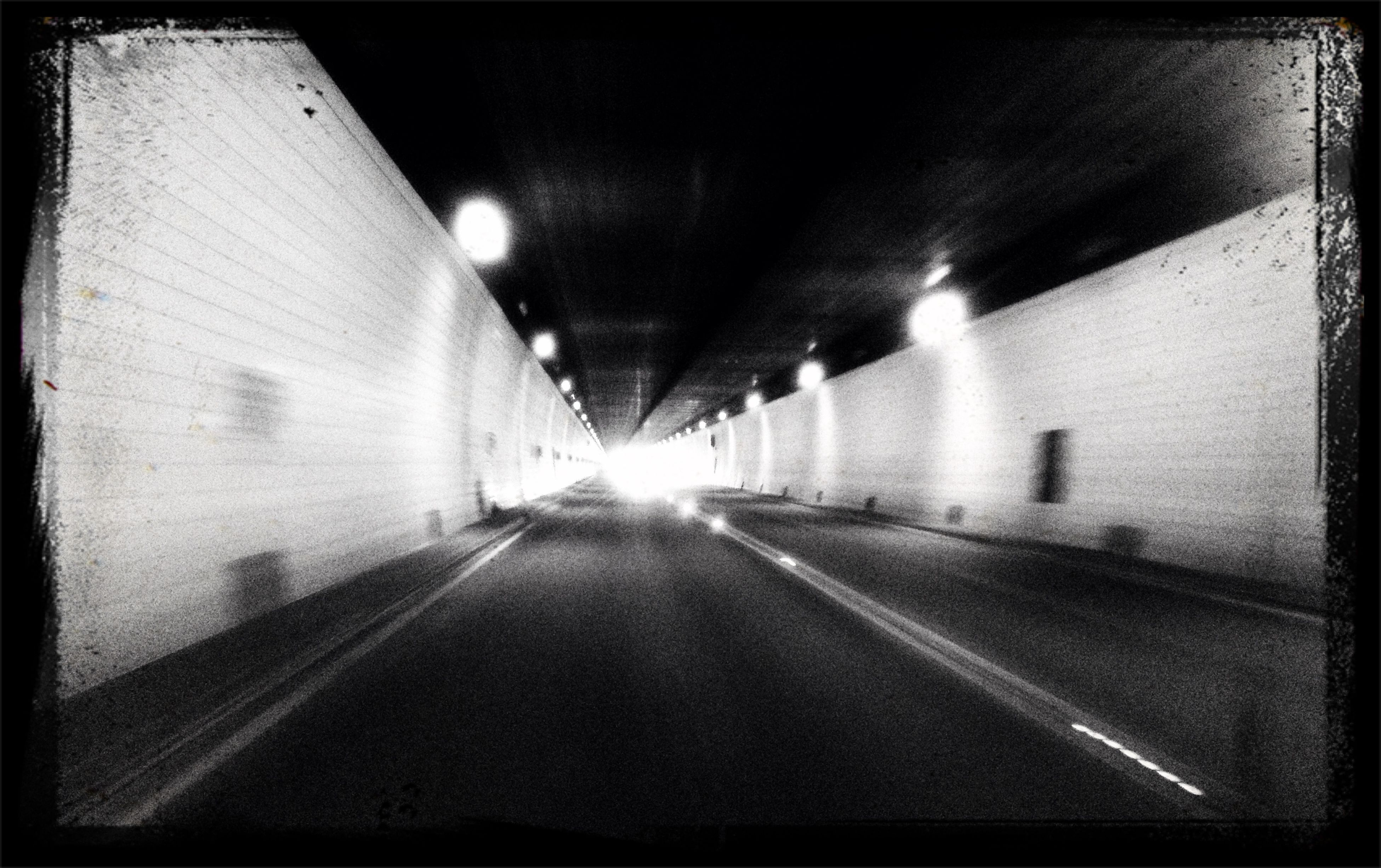 the way forward, illuminated, diminishing perspective, transportation, vanishing point, architecture, built structure, indoors, tunnel, night, lighting equipment, transfer print, empty, road, long, auto post production filter, street, building exterior, narrow, road marking