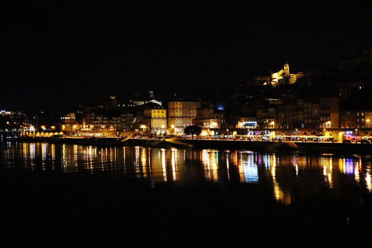 Illuminated Night Architecture Reflection Built Structure Building Exterior Water River No People City Waterfront Sky Outdoors Porto Douro  Douroriver Electricity  Beauty In Nature