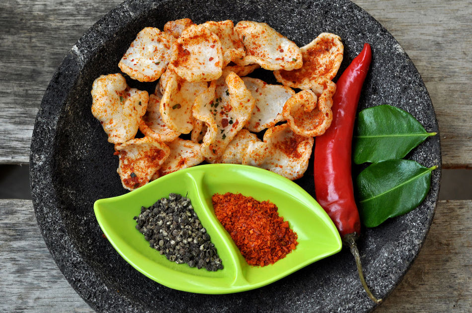 Red Chili Peppers and Spicy Cracker Basil Close-up Cracker Directly Above Food Food And Drink Freshness Green Color Green Leaf Healthy Eating Indoors  Indoors  No People Ready-to-eat Red Chili Pepper Spicy Spicy Food Spicy Foods Stone