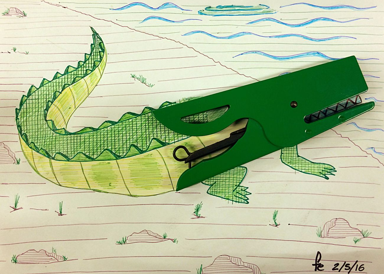 Stapler Green Alligator Spillatrice Stuffinart
