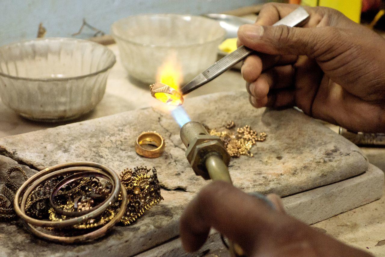 Jeddah Saudi Arabia Gold Flame Hot Working Work Ornaments Jewellery Hands At Work