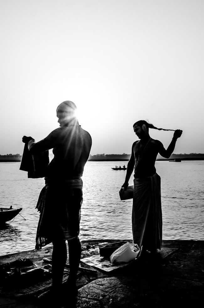 The Moment If Enlightenment Black And White Photography Men Monochrome Photography Only Men People Two People Varanasi, India Ganges, Indian Lifestyle And Culture, Bathing In The Ganges, Vertical