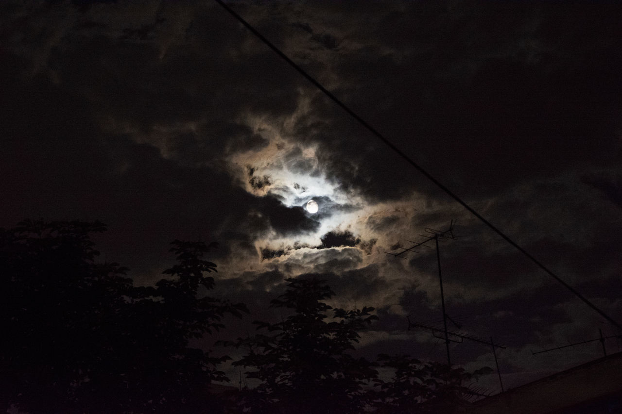 Urban cloudy midnight Antenna Cable City Clouds Light Low Angle View Midnight Moon Nature Night Outdoors Silhouette Sky Tree Urban
