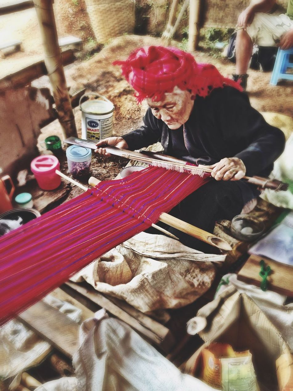 Real People Lifestyles Outdoors Day Portrait Knitting Old Woman Myanmar Myanmarphotos Village Life Burma Burmese ShotOnIphone IPhoneography Colour Of Lifeortrait] Women Around The World Art Is Everywhere