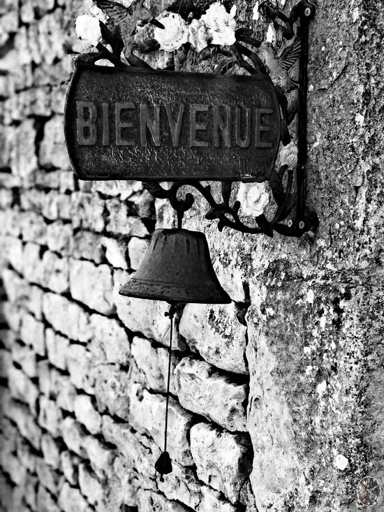 Brick Wall Outdoors Day Bell Blackandwhite