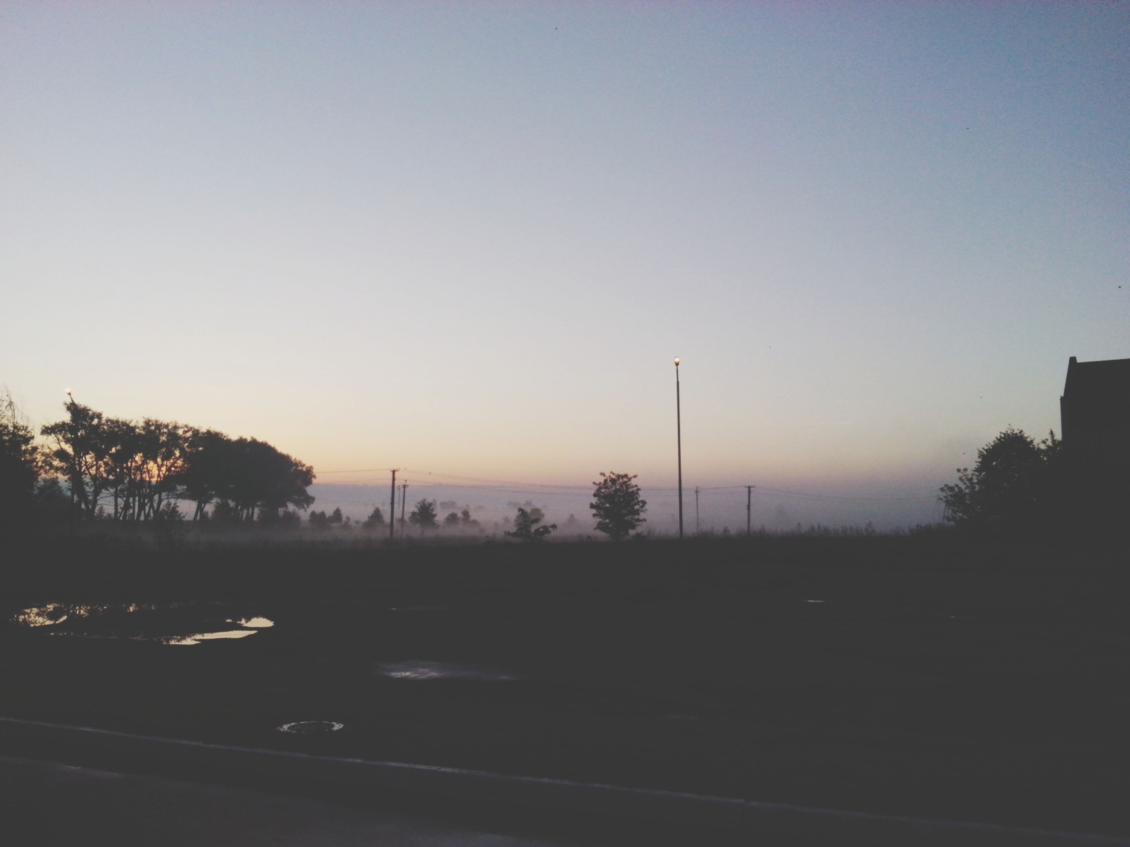 sunset, tree, copy space, clear sky, silhouette, tranquility, tranquil scene, scenics, beauty in nature, nature, orange color, landscape, sky, transportation, outdoors, dusk, no people, growth, idyllic, road