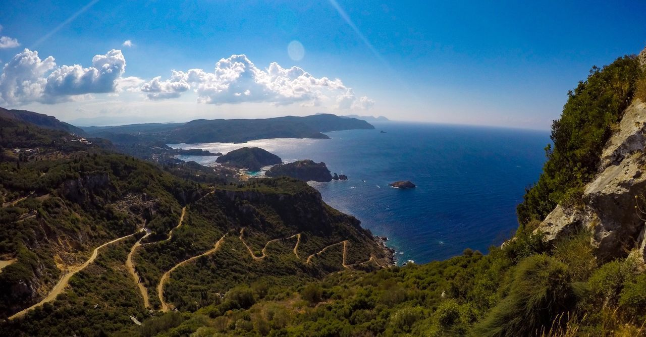 The view from top 😎 Beauty In Nature Sea Nature Blue Sky Water Mountain Landscape Outdoors Horizon Over Water Day Greece Palaiokastritsa Angelokastro Summer Goprohero4