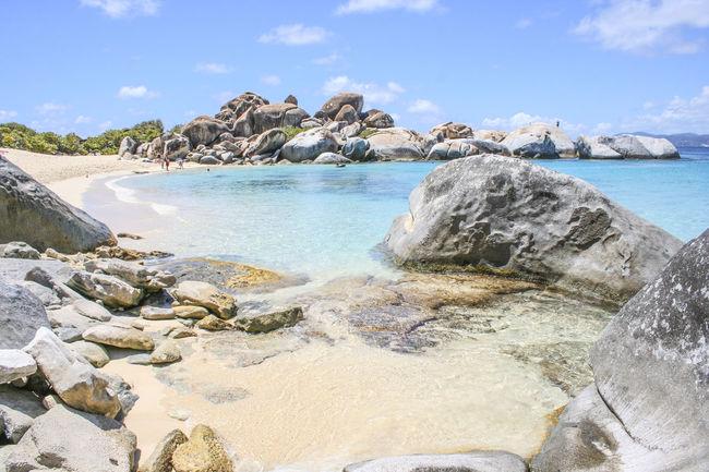 Beach Blue Sky Boulder British Virgin Islands Coastline Idyllic Mountain Rock Formation Rocks Scenics Sea The Baths Tranquil Scene Turquoise Water The KIOMI Collection Blue Wave