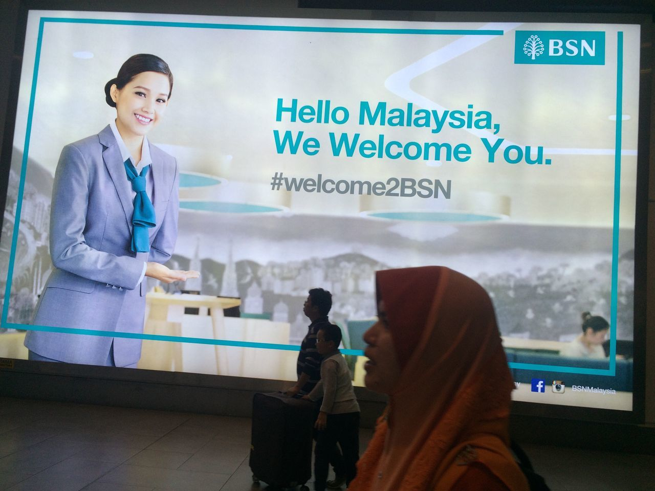Welcome to Malaysia. I take this picture at Kuala Lumpur International Airport 2. Welcome welcome malaysia Malaysia KLIA2 Kuala Lumpur International Airport 2 bsn Bank Simpanan Nasional signboard Malaysia Truly Asia malaysia life style Taking Photos Documentary Life Journey Arrival Hall Hello Malaysia Hello Welcome2bsn