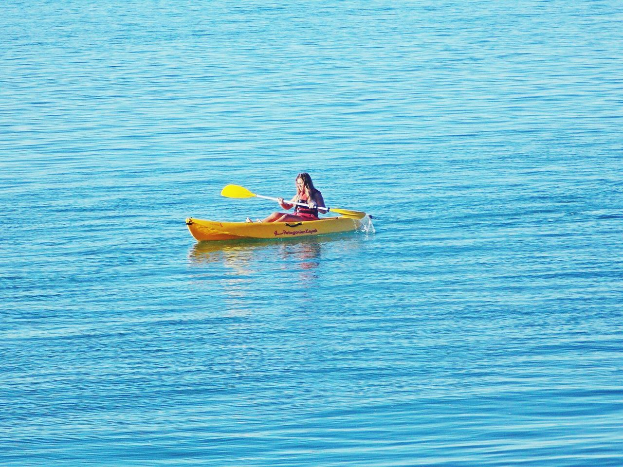 Şūr Kayaking Nautical Vessel Water Day Blue Nature Kayak High Angle View Transportation Argentina Photography Patagonia Argentina Two People Oar Togetherness Men Outdoors Adult People Sitting Sea Rowing Adults Only