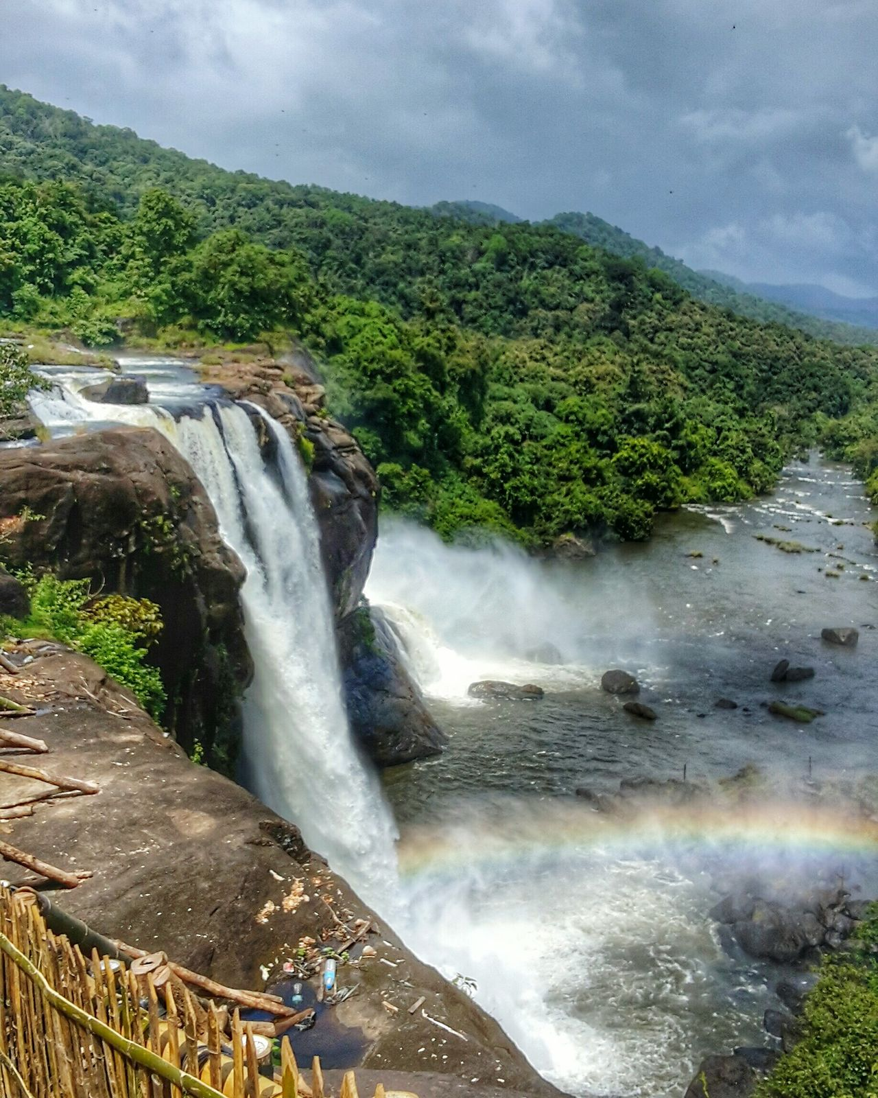 Rainbow Clouds Water Waterfall Travel Destinations Scenics Tourism Landscape Nature Beauty In Nature No People Cloud - Sky Vacations Outdoors Motion Stream - Flowing Water Chillingg. ☺ Light Stationary Likeforlike Outdoorlife Day