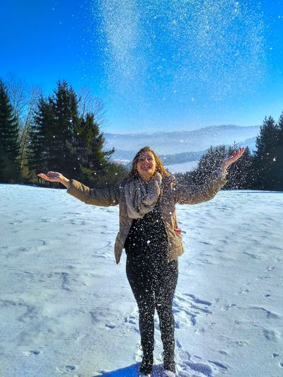 Forrest Freezing Freshness Girl Girls Happiness Joy Joyful Love Love Snow Love Winter Nature Outdoors Paradise Scenery Snow Snowing Throwing Snow Trees Winter Winter Wonderland Young Woman