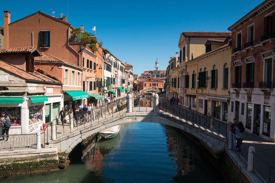 Architecture Blue Building Exterior Built Structure Canal City Clear Sky Day Italy Large Group Of People Nature Outdoors People Real People Residential Building Sky Sunlight Travel Destinations Venice, Italy Water