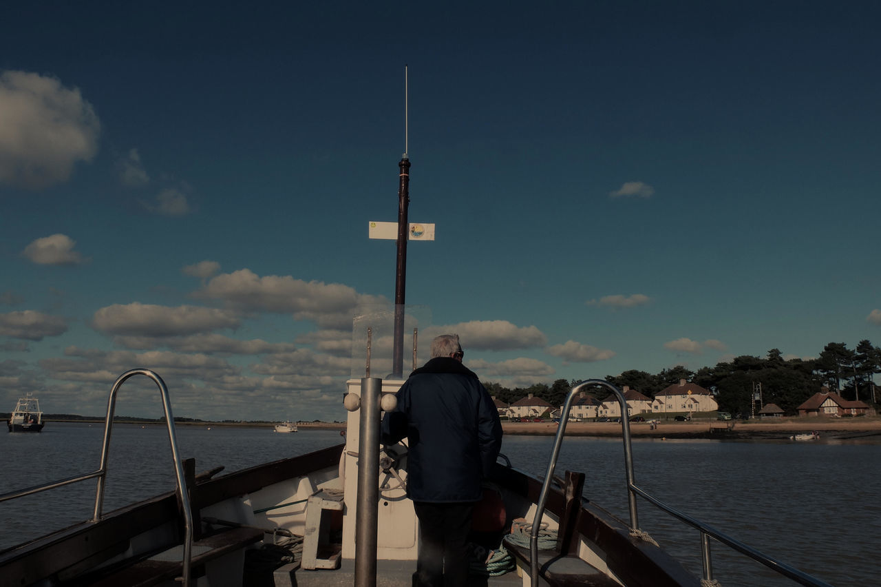 Bawdsey Ferry Man Bawdsey Loweststoff Big Blue Sky With Clouds Blue Built Structure Documentary Nature Photography Photography Taking Photos A Ferry Man Leisure Activity Lifestyles Men Nature Nautical Vessel Outdoors Railing Rear View Reportage Street Photos Taking Fotos Images Photographic Camera Lens Architectural Design Building Structual Support Detail Of Tower Block In Sunshine Blue Sk River Sea Sky Standing Three Quarter Length Transportation Waist Up Water