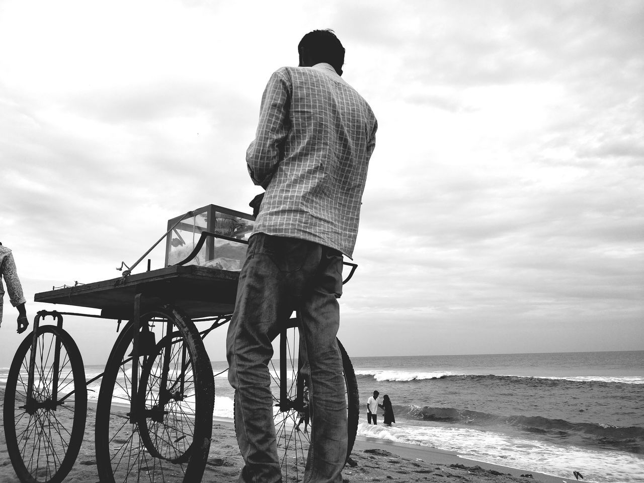 One Man Only Only Men One Person Cloud - Sky Adult Rear View Full Length People Adults Only Standing Casual Clothing Outdoors Sky Beach Sea Men Day Horizon Over Water Black & White Monochrome India Blackandwhite Bnw Nature Water