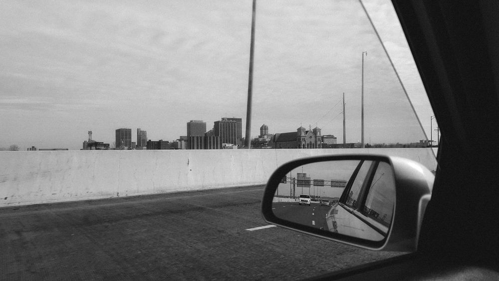 Black & White Black And White City City View  Concrete Wall Driving Head Out On The Highway Highway Looking Looking For Adventures Road Roadtrip Skyline View Of The City Window