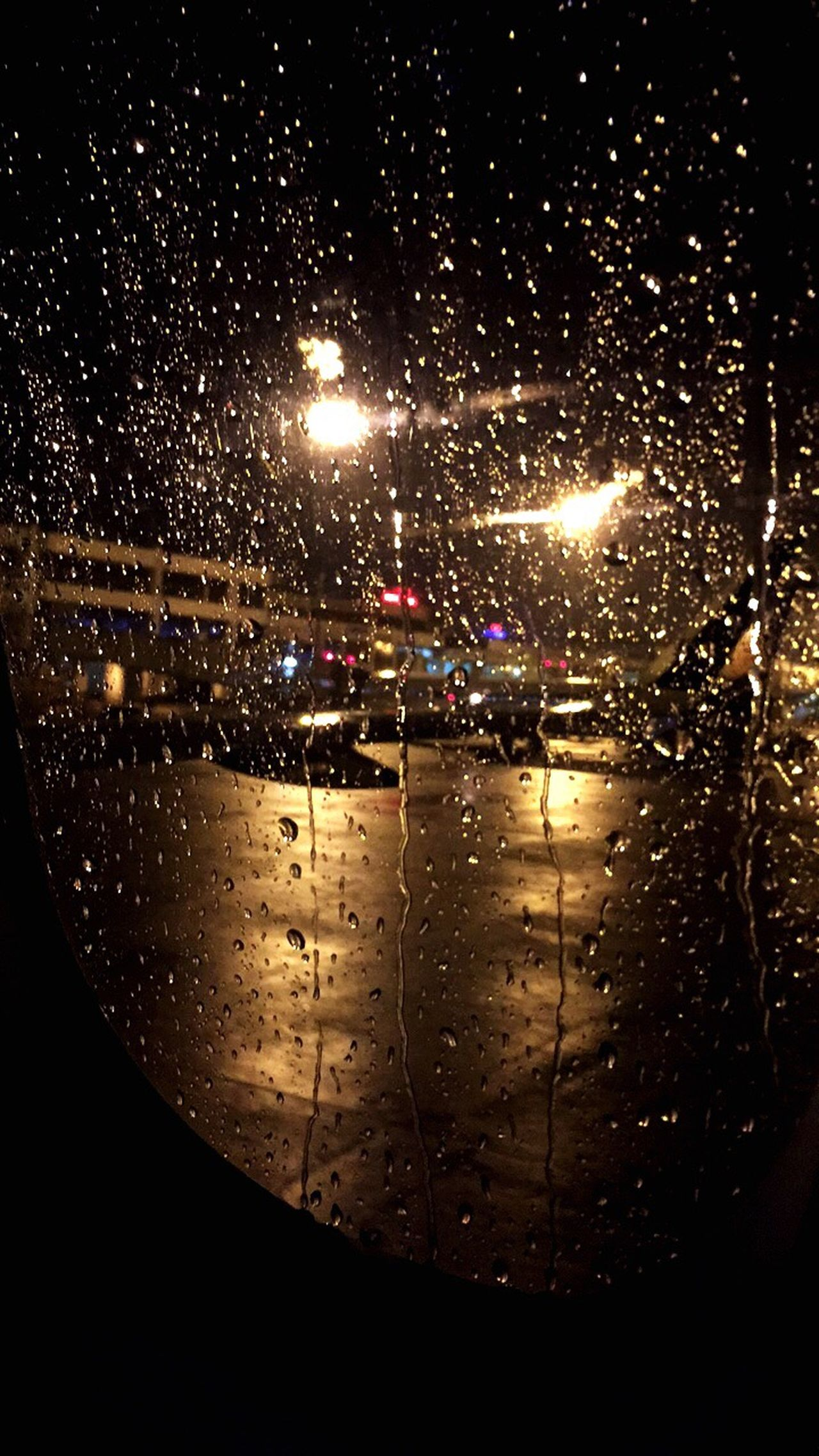 Waterdrops Drizzling Windowseat Window View Chennai Airport Window Shade Airplane Nightphotography Lights