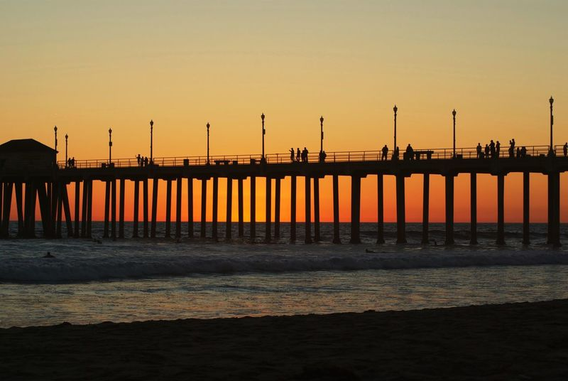 Let's walk the pier Pier Silhouette Sunset Silhouettes Sunset Beach Life Is A Beach Colors Hello World Taking Photos Sunset_collection Huntington Beach Surf's Up 43 Golden Moments