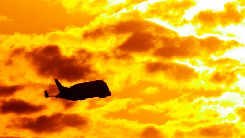 Big black whale. BIG Black Whale Sunset Sunset_collection Sunset Silhouettes Sky Aviation Airbus Beluga Supertransporter Sun Sunlight Sunrise Canon Canonphotography Airplane Silhouette Cloud Cloud - Sky Clouds And Sky Clouds Cloudy Perpignan France