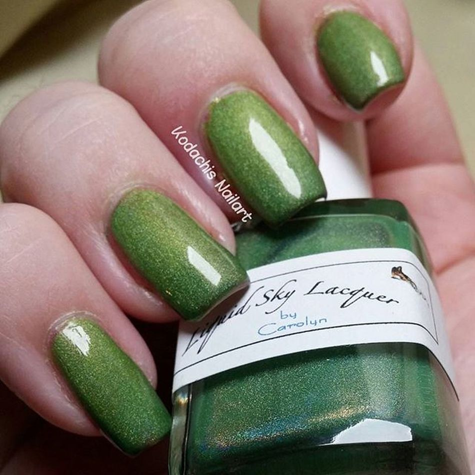 A bit late - day 4 green 31dc2015 used one of my favorite thermal polishes from Liquidskylacquer - Margaritaville Itrustindiepolish