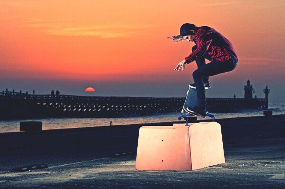 Hanging Out Skateboarding Sunset France Taking Photos Orange Rekiem Skateboards Frontside Nose Grind Jérémie Plisson