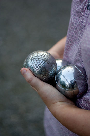 Ball Boule Close-up Detail Europe France French Game Hand Hobbies Holding Person Petanque Selective Focus Silver  Travel