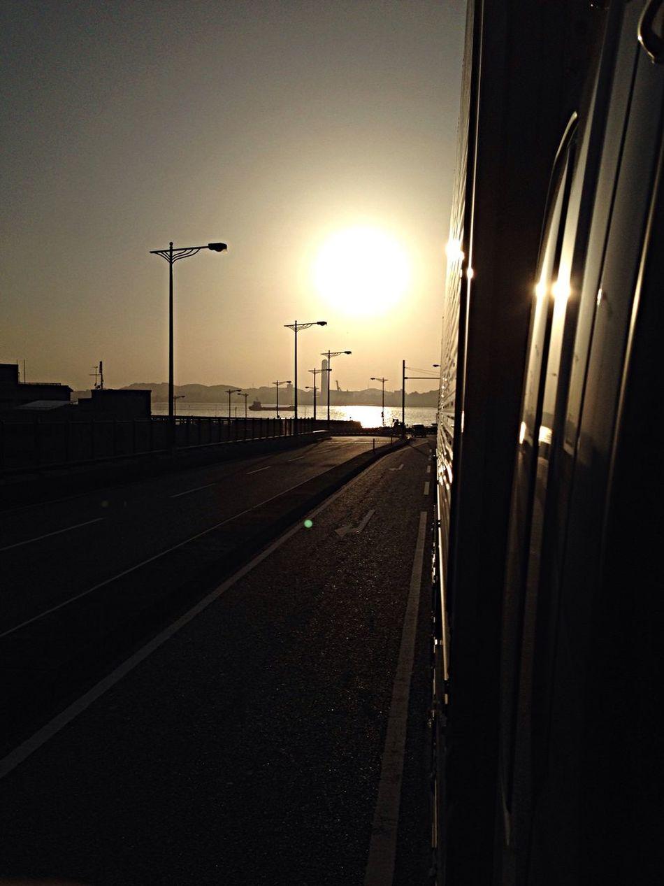 Truck On The Road Enjoying The Sun Sunset