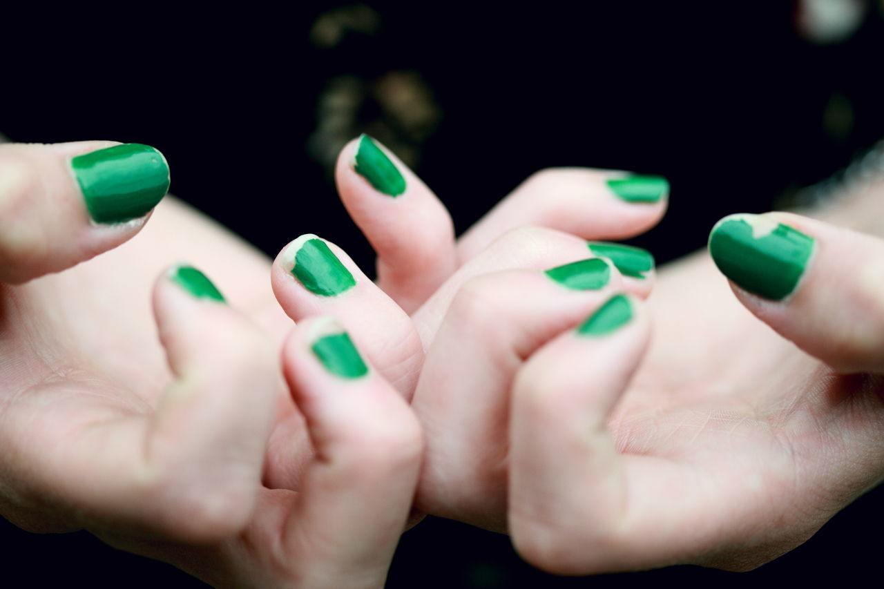 Beauty Black Background Childhood Chipped Paint Fingernail Fingers Girls Green Hands Human Body Part Human Finger Human Hand Nail Polish Nails One Person Painted People Real People Woman