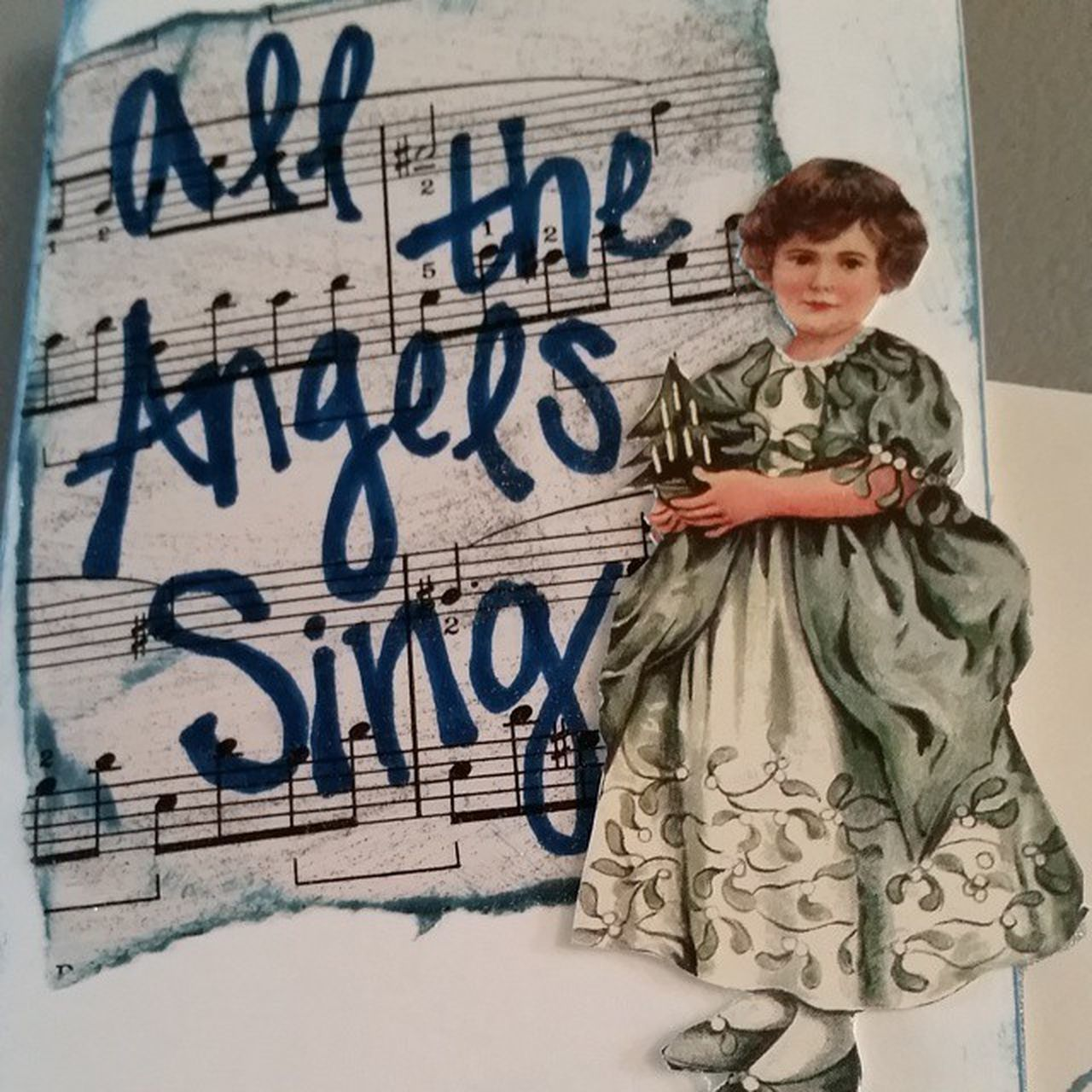 """All the Angels Sing"", Loving how this one came together! Cardmaking Paperdolls Acrylicpaints Sheetmusic Christmas"