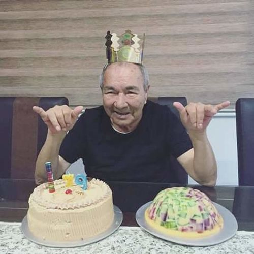 One Man Only Only Men Senior Adult Cake Birthday Cake Sitting Portrait Gray Hair Senior Men Indoors  Looking At Camera People Front View Misshim Favoritemoment Favoritememories Favoriteperson