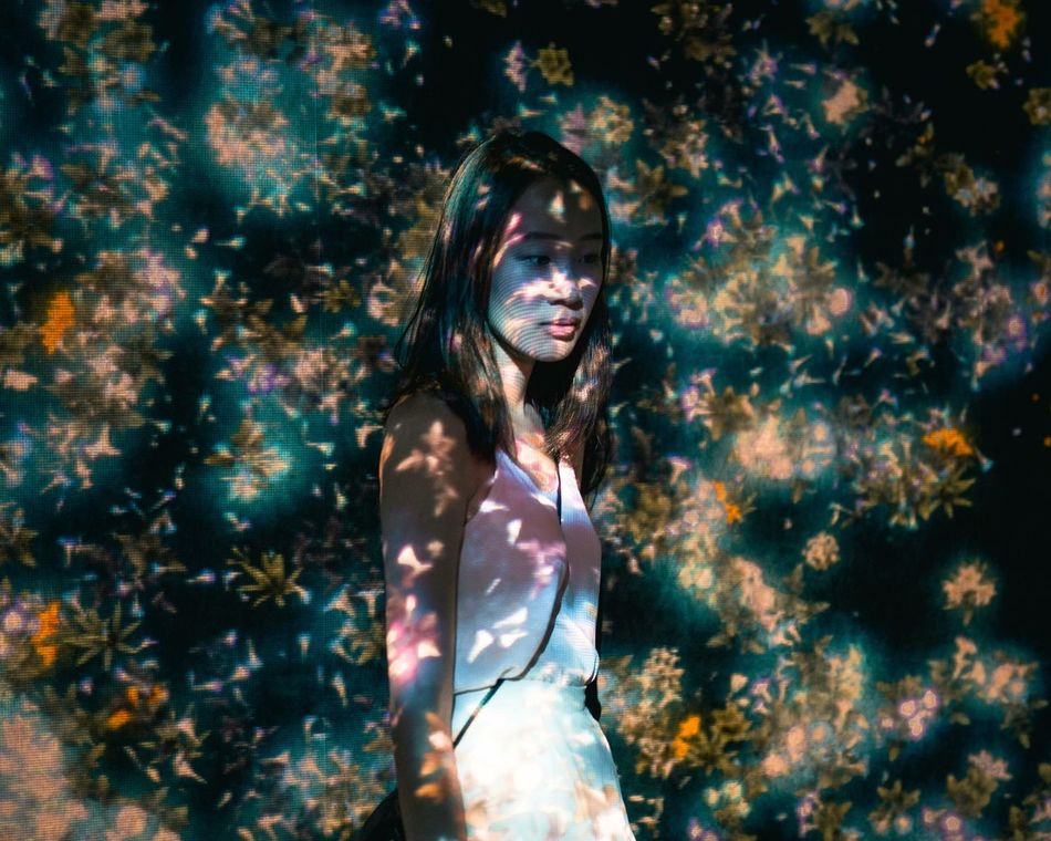 The Secret Spaces Dreamlike One Woman Only Beautiful People Portrait Women Around The World Technology Technology I Can't Live Without Projection Flowers Digital Art Digital Light Light Collection TCPM