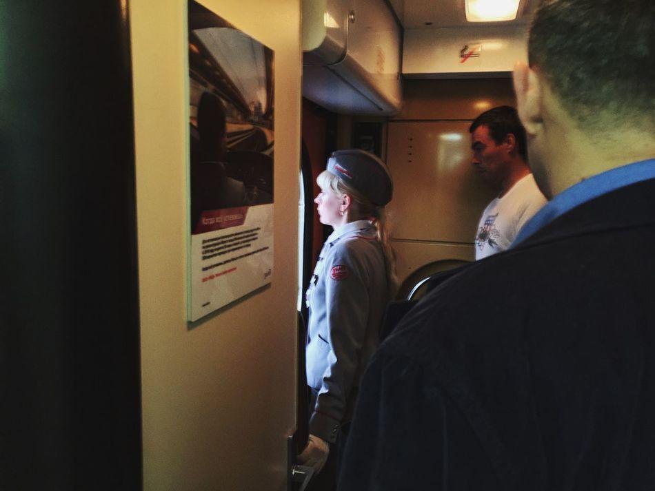 Passengers wait to disembark the train at Moskovsky railway station in St Petersburg Train Rus2015tc Traveling