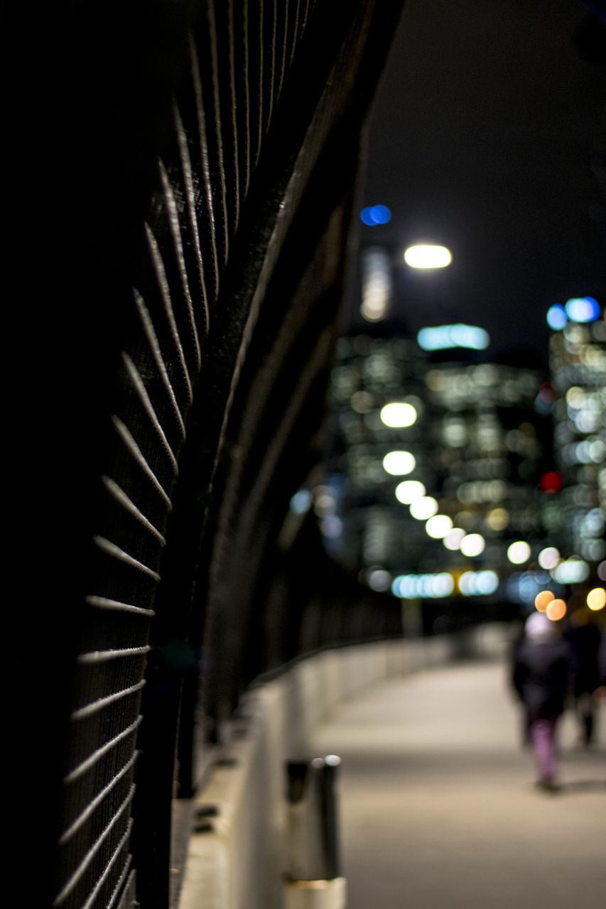 illuminated, night, the way forward, built structure, architecture, city, outdoors, no people, close-up