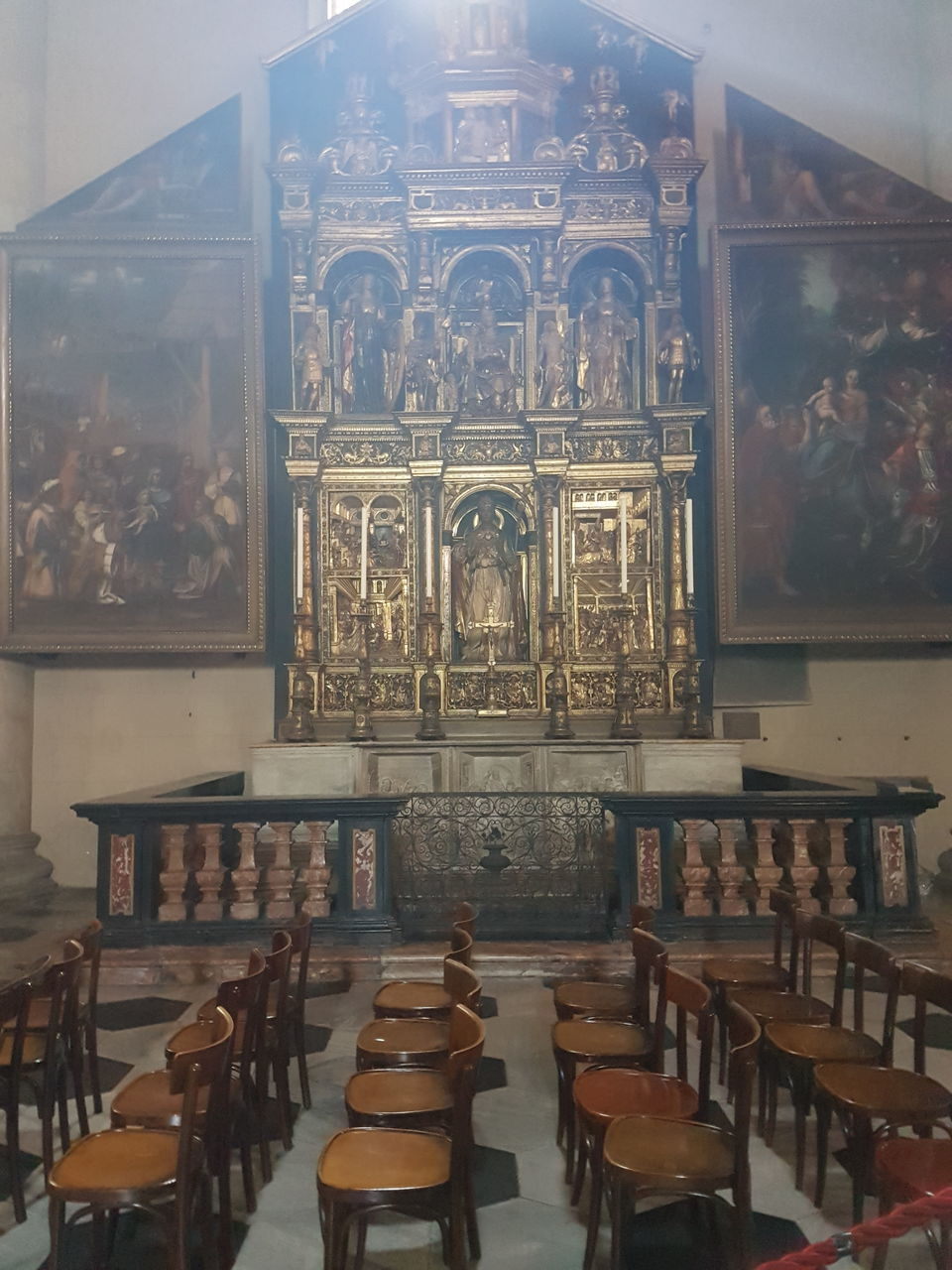 spirituality, religion, place of worship, indoors, human representation, statue, sculpture, no people, altar, history, day, pew, architecture