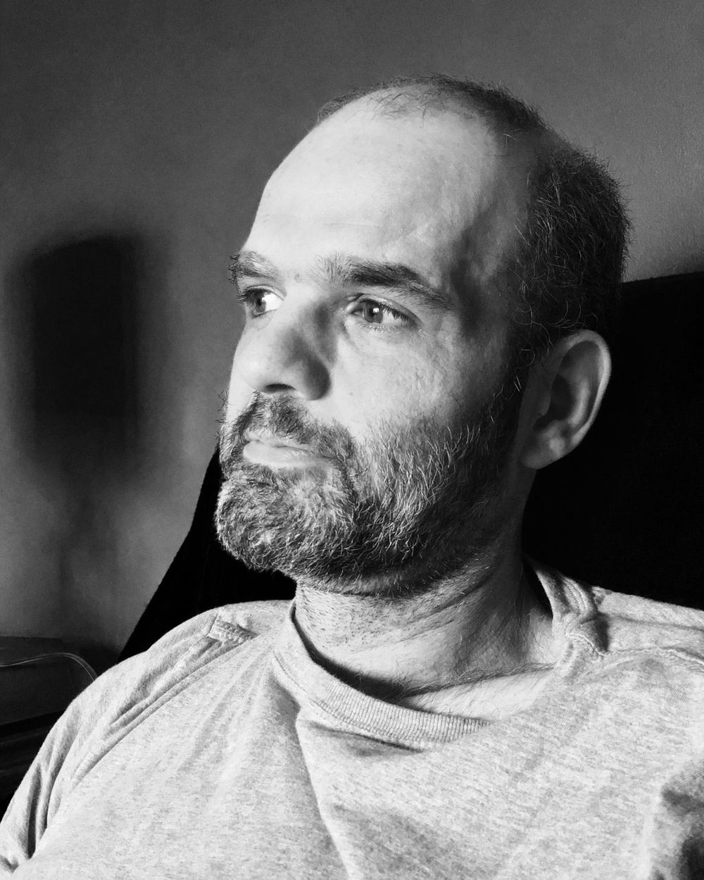 Real People Mature Men One Person Beard Lifestyles Leisure Activity Home Interior Mature Adult Indoors  Portrait Blackandwhite Natural Light Portrait Close-up Day Pensive Salt And Pepper Hair DISTINGUISHED Casual Clothing Balding Man Balding Bald Is Beautiful Handsome Bearded Rugged