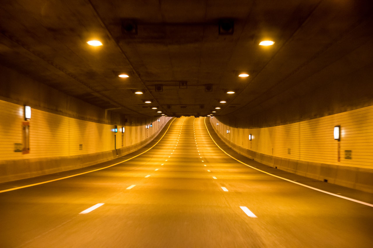 Delemo Electric Light Empty Illuminated Lit Long No People The Way Forward Transportation Tunnel