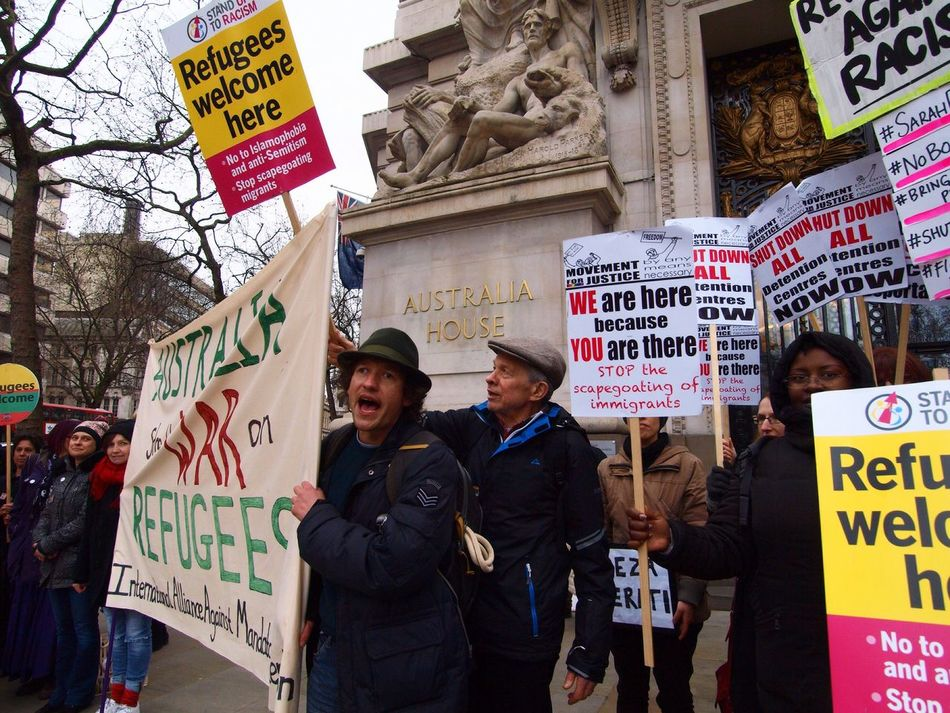 Australia House. Refugees Welcome Here. Protest against Australian immigration policy. London. 19-03-16 Protesting Stevesevilempire Protesters Olympus Zuiko Politics Britain Australia House Immigration London Refugeeswelcome Steve Merrick Protest