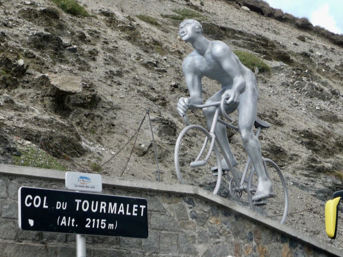 Statue Cycle Racing Bicycle Text No People Outdoors Day Honor Col Du Tourmalet France