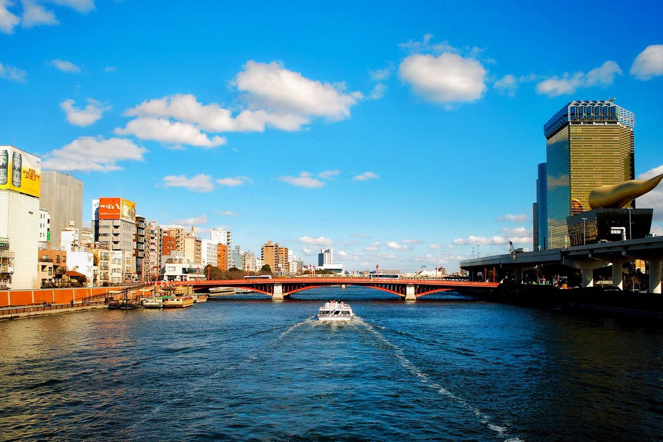 Architecture Built Structure Building Exterior City Waterfront Water Sky River Transportation Cityscape No People Outdoors Bridge - Man Made Structure Day Eye4photography  EyeEm Best Shots Adapted To The City Tokyo Ships Streetphotography Transportation Wave