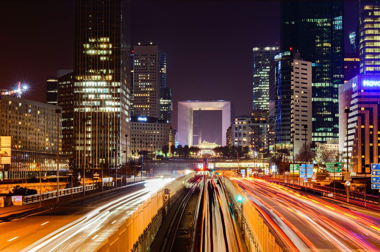 Megalopolis II City Night Illuminated Architecture City Life Long Exposure Building Exterior Traffic Cityscape Urban Skyline Speed Light Trail Street Light Paris HDR Painting Colors