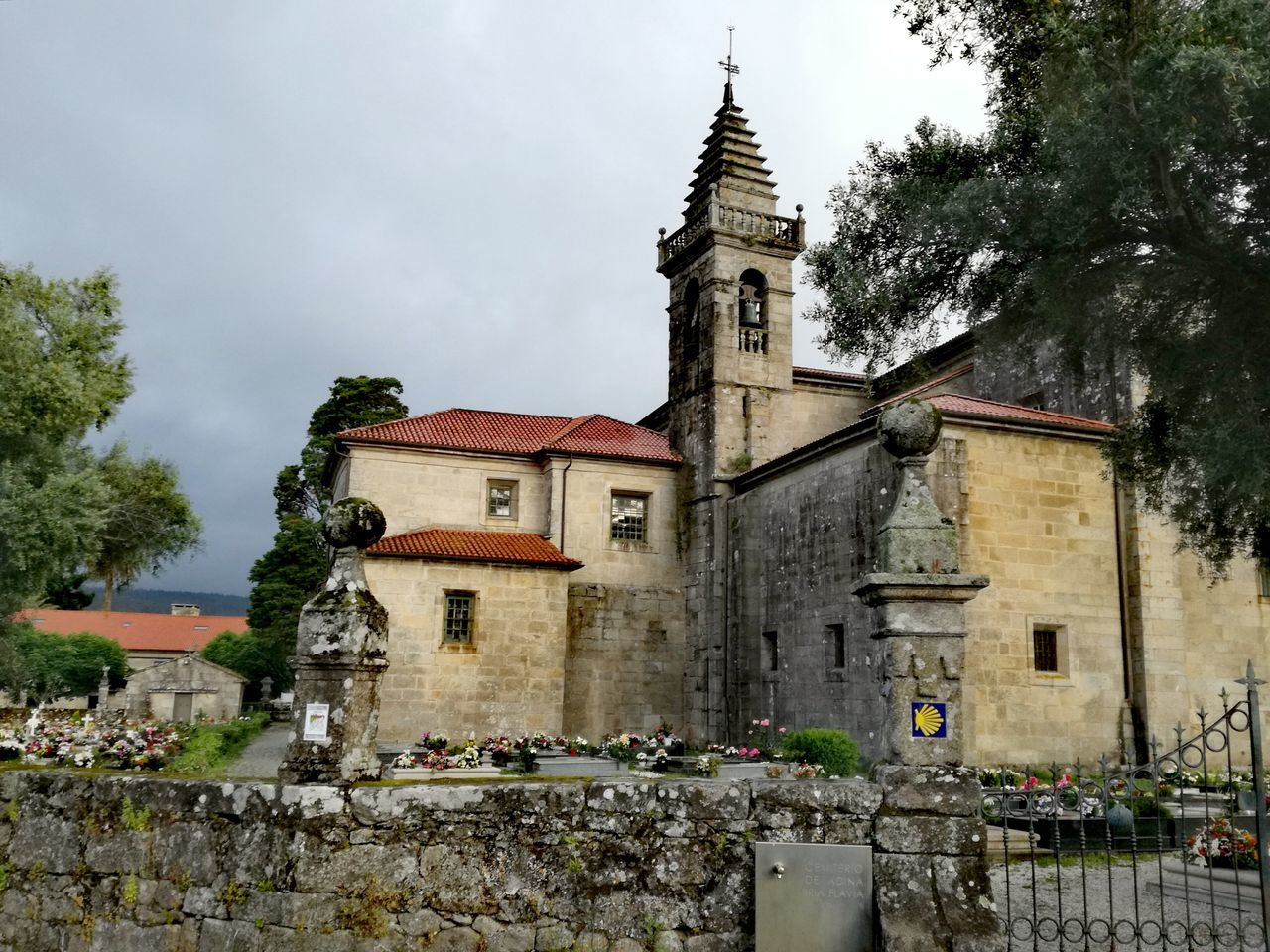 Architecture Religion History Building Exterior Built Structure Tree Outdoors No People Day Sky Clock Rain Clouds Saint James Way Place Of Woreship Rainy Day Walk Rainy Weather Rural Scene Spain_beautiful_landscapes Galicia, Spain Spain Is Beautiful Church Architecture Catholic Church