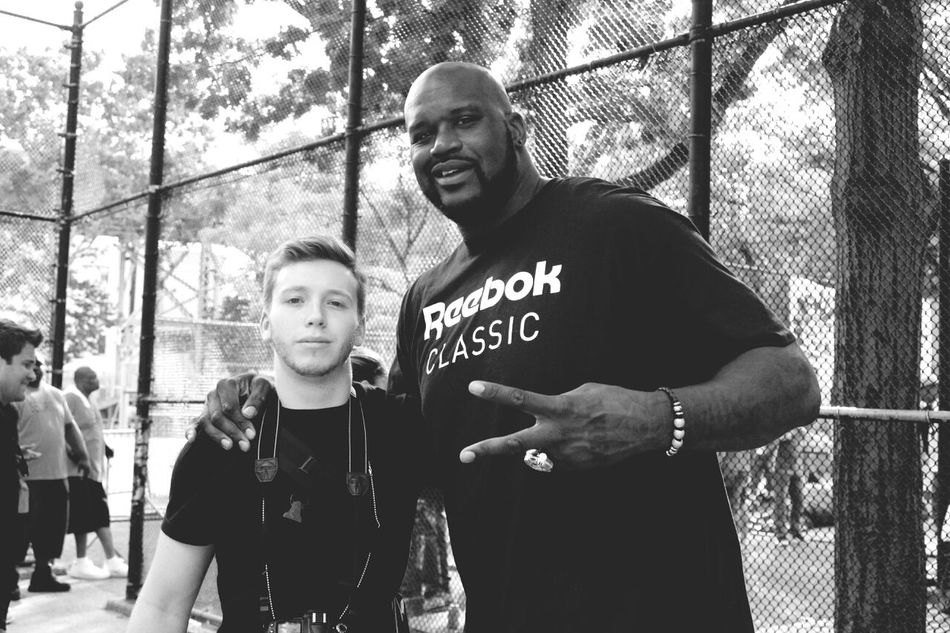My boy Leo kicking it with Shaq at the Rucker Harlem  NBA Basketball Is Life