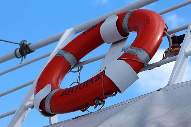 Blue Sky Red Lifebelt Life On A Ship